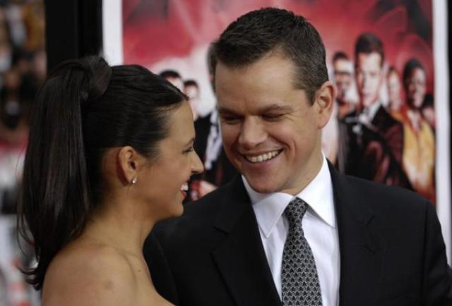 Matt Damon y su esposa Luciana Barroso en 2007 (AP)