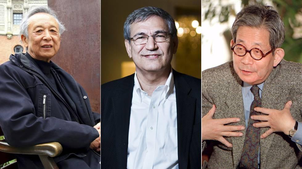 El escritor chino Gao Xingjian, el turco Orhan Pamuk y el japonés Kenzaburo Oé, algunos de los pocos Nobel de Literatura en lenguas no occidentales.rn rn