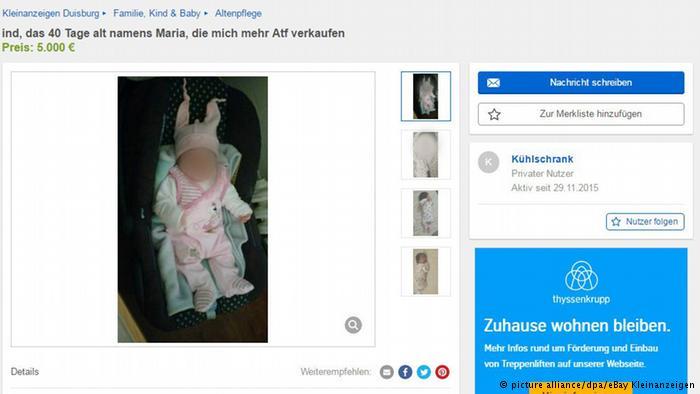 Baby im Internet zum Verkauf angeboten (picture alliance/dpa/eBay Kleinanzeigen)