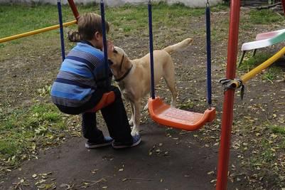 Nico Meini tiene 7 años y es autista. Volta, su perra labradora de 3 años, es parte activa de su terapia. Alfredo Martínez.