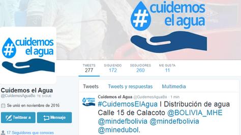La plataforma @CuidemosAguaBo que abrió el Gobierno