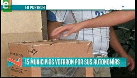 Titulares de TV: 15 municipios votaron por sus autonomías indígenas