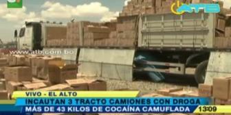 Incautaron 3 tracto camiones con droga valuadas en medio millón de dólares