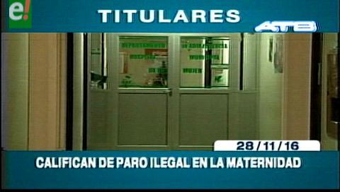 Titulares de TV: Gobernación califica de ilegal el paro en la Maternidad Percy Boland