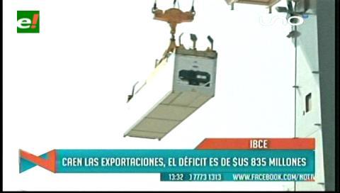 IBCE: Caen las exportaciones, el déficit es de $us 835 millones