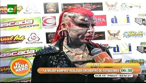 Llegó a La Paz la mujer más tatuada del mundo