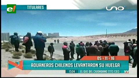 Titulares de TV: Aduaneros chilenos levantaron su huelga en la frontera, transporte boliviano espera que se reanude el comercio