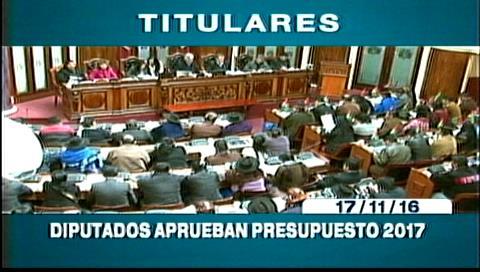 Titulares de TV: Cámara Baja aprueba el presupuesto 2017, oposición cuestiona recortes en salud y educación