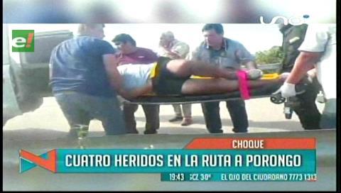 Accidente de tránsito en ruta a Porongo deja 4 heridos