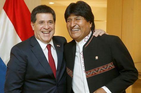 El presidente de Paraguay, Horacio Cartes, en su encuentro con su homçologo boliviano, Evo Morales, en Estados Unidos.