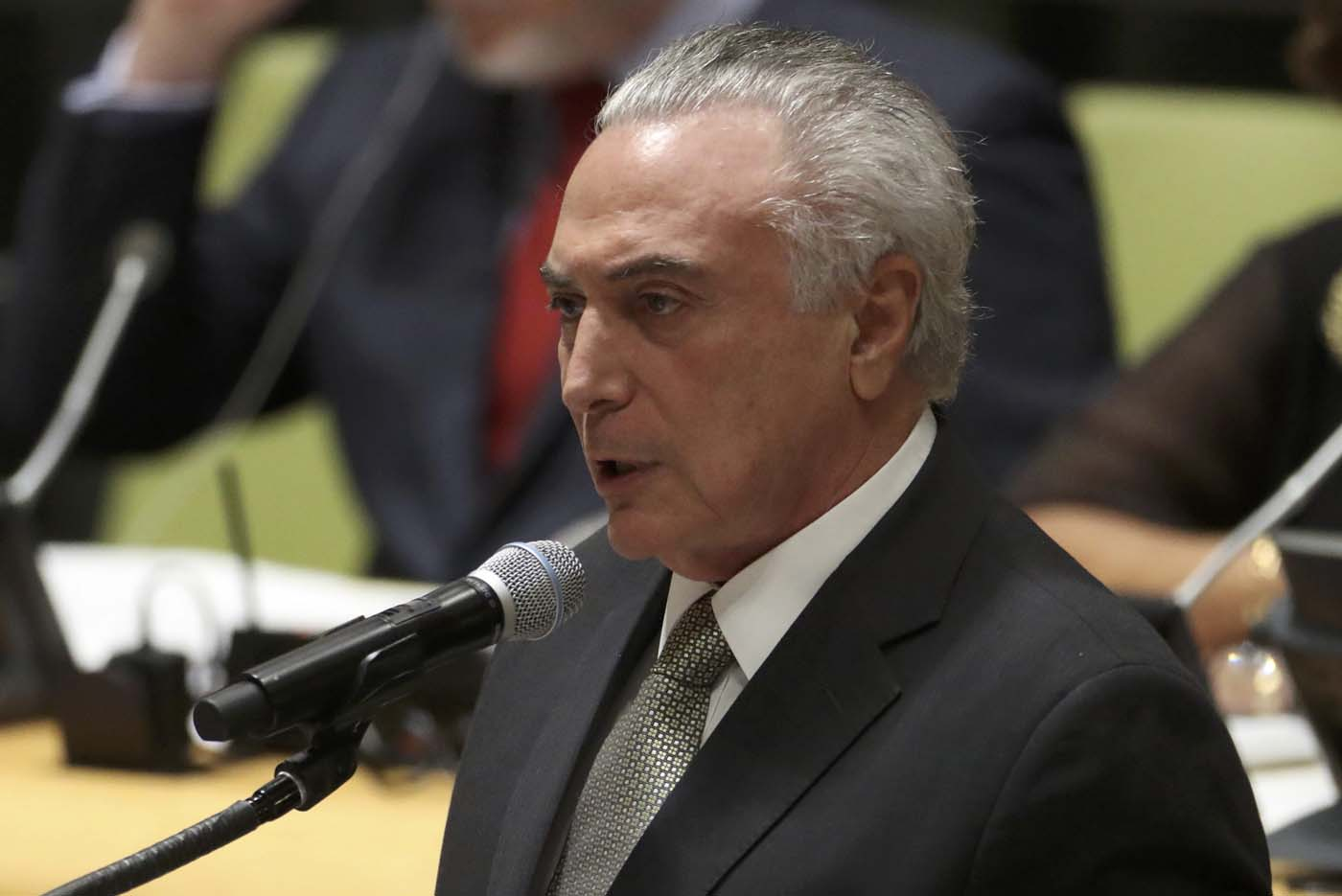 President Michel Temer of Brazil speaks during a high-level meeting on addressing large movements of refugees and migrants at the United Nations General Assembly in Manhattan, New York, U.S. September 19, 2016. REUTERS/Carlo Allegri