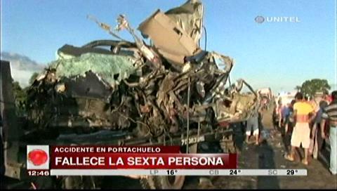 Suben a seis los fallecidos en accidente de Portachuelo