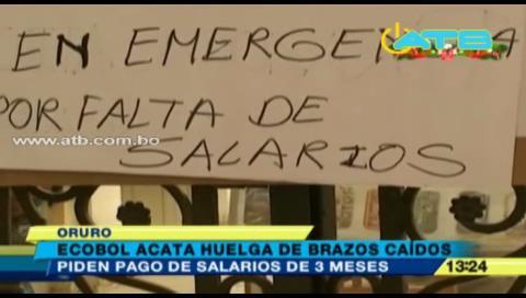 Trabajadores de Ecobol no cobran su sueldo hace 3 meses