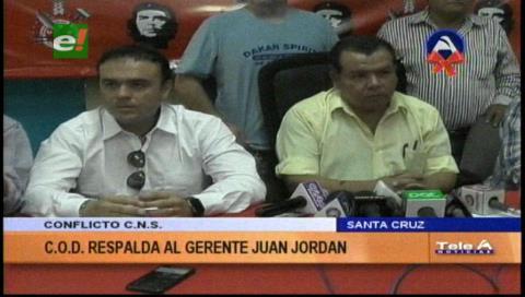 COD respalda al gerente de la CNS Juan Alfredo Jordán