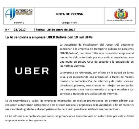 El comunicado de la Autoridad de Juegos difundido por redes sociales.