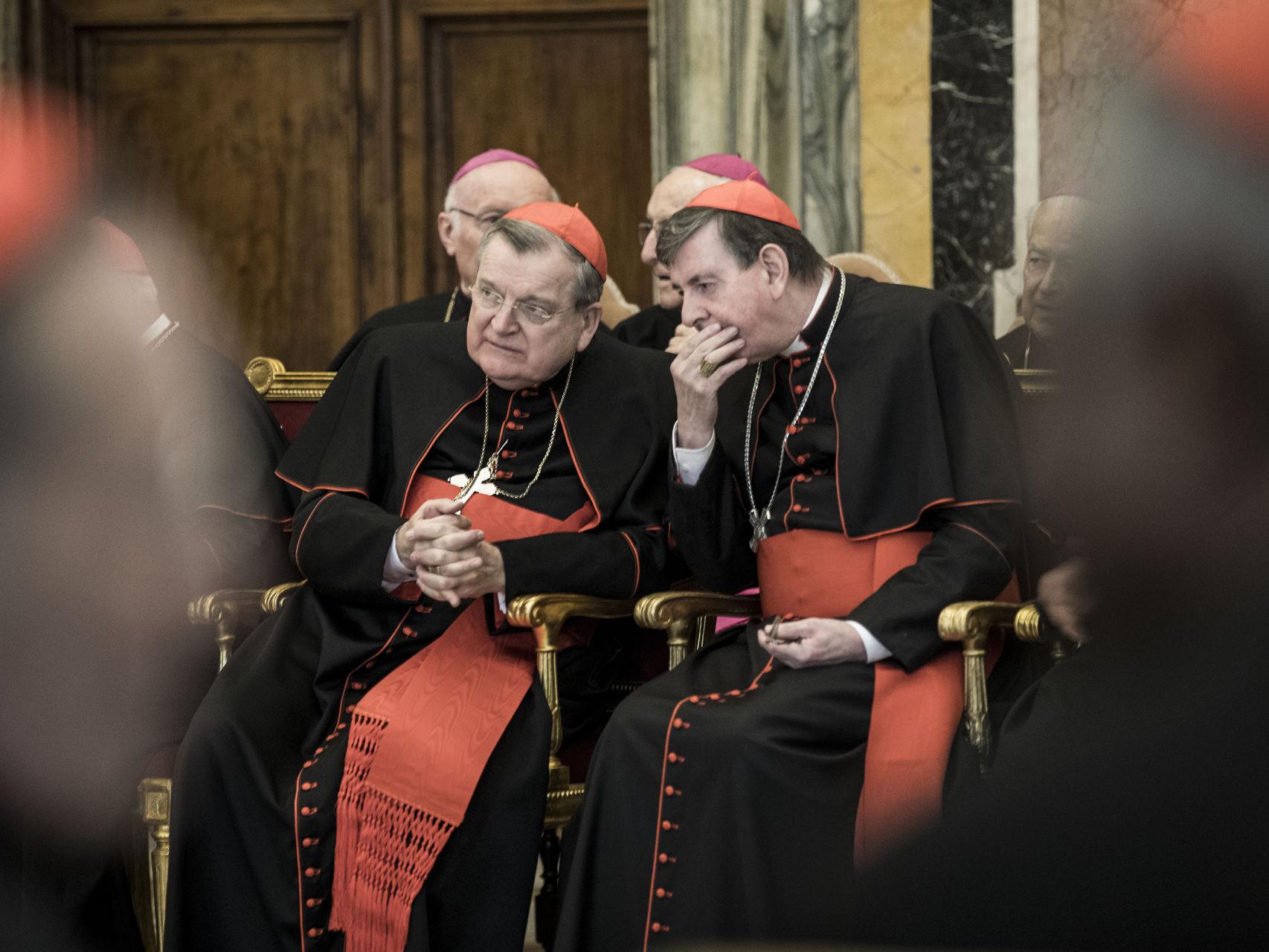 Burke charla con otro cardenal durante los saludos navideños de la curia romana el 22 de diciembre de 2016 en el Vaticano.