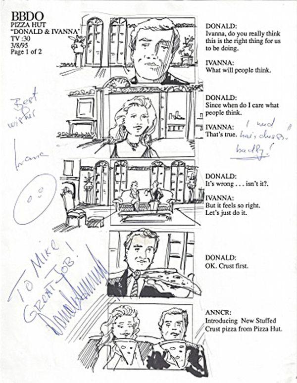 El guión gráfico del comercial de pizza que protagonizó el presidente de los Estados Unidos en 1995, con su ex esposa Ivanna.