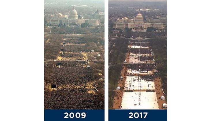 Trump solicitó fotos de su ceremonia de investidura para demostrar la alta asistencia de público