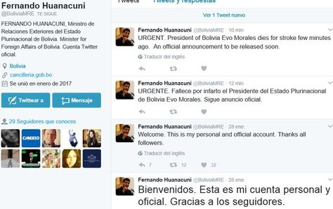 Éstas fueron las publicaciones que hicieron cuando la cuenta del canciller Fernando Huanacuni fue hackeada.