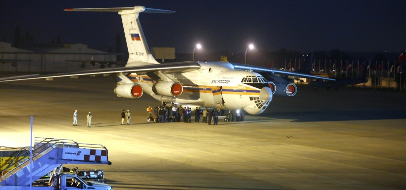 """Santiago 30 enero 2017. El avion Ilyushin IL-76 conocido como """"Luchin"""" arribo durante esta madrugada al grupo 10 de la FACH para ayudar a combatir los incendios que afectan al pais. Karin Pozo/ Aton Chile"""