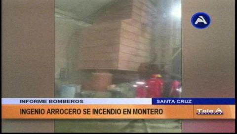 Montero: Incendio en un ingenio arrocero