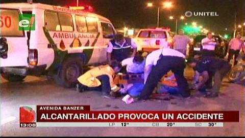 Alcantarillado provoca un accidente
