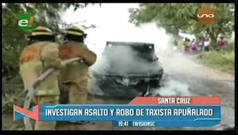 Asaltantes dejan en coma a taxista y queman su vehículo