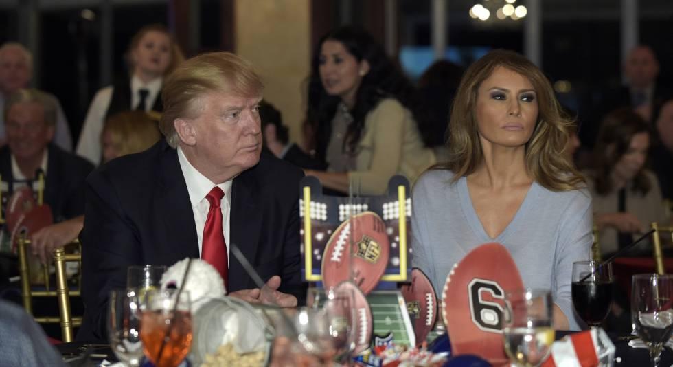 Donald y Melania Trump, durante un encuentro el pasado domingo para seguir la final de la Super Bowl.
