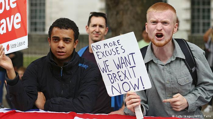 Brexit Symbolbild Beführworter (Getty Images/AFP/J. Tallis)