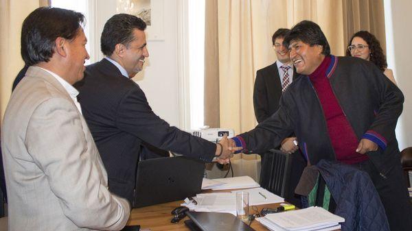 Evo Morales durante el encuentro en La Haya