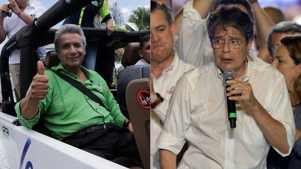 El oficialista Lenín Moreno (izquierda) y el ex banquero Guillermo Lasso (derecha) en el último día de campaña electoral (Reuters)