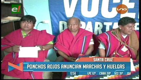 Ponchos Rojos exigen ser incluidos en los estatutos cruceños, anuncian marchas y huelgas
