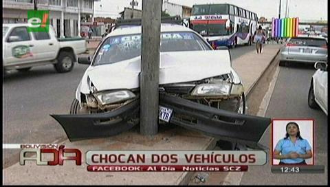 Accidente de Tránsito deja dos heridos en la avenida Virgen de Cotoca