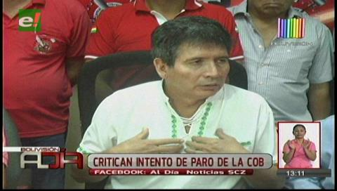 COD de Santa Cruz criticó intento de paro de la COB