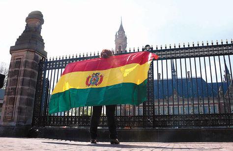 Una persona posa con la tricolor en el frontis de la CIJ, en La Haya.
