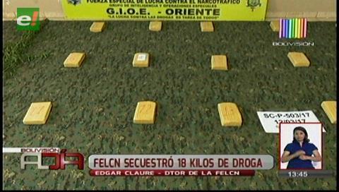 Santa Cruz: La Felcn se incauta de 18,4 kilos de cocaína
