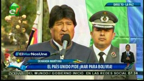 Evo dice que Bolivia volverá al mar pese a la oposición de 'grupos de Chile'