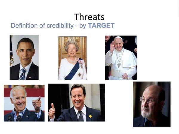 Ejemplos puestos por Facebook de personalidades sujetas a amenazas creíbles (imagen: The Guardian)