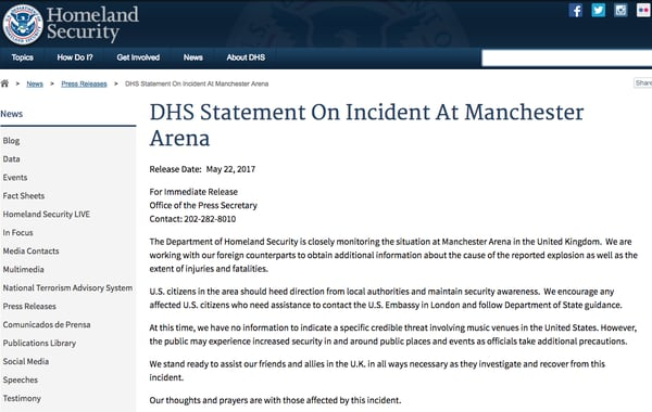 Cerca de 20 muertos y 50 heridos en Manchester tras explosión