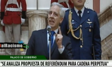 Álvaro García Linera durantre la conferencia de prensa que ofreció este miércoles. Foto: Captura de pantalla de Bolivia TV