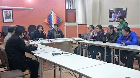 La ministra de Salud, Ariana Campero, durante la reunión que sostuvo este martes con el Colegio Médico. Foto: @MinSaludBolivia