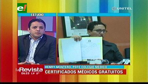Colegio Médico: Certificado gratuito no causará impacto económico