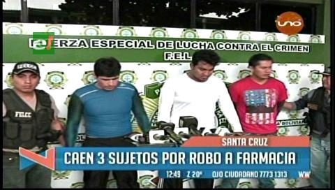 Caen tres sujetos por robo a una farmacia