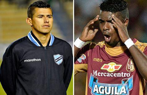 Juan Carlos Arce (izq.) de Bolívar y Marco Pérez de Deportes Tolima.
