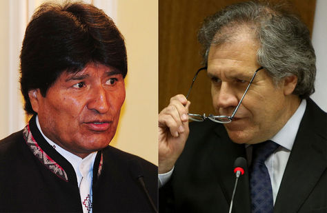 El presidente Evo Morales y el secretario general de la Organización de Estados Americanos (OEA), Luis Almagro.