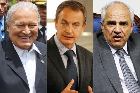 Salvador Sánchez Cerén, José Luis Rodríguez Zapatero y Ernesto Samper