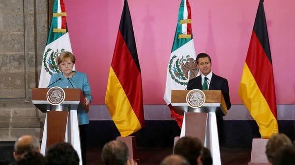 Conferencia de prensa entre los líderes de Alemania y de México en el Palacio Nacional de la Ciudad de México (Reuters)
