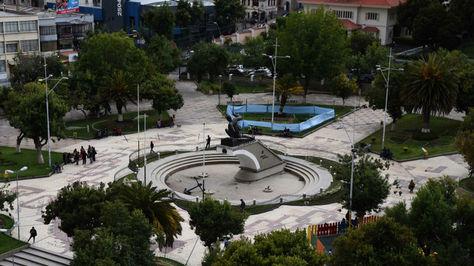 Vista aérea de la plaza Abaroa de La Paz.
