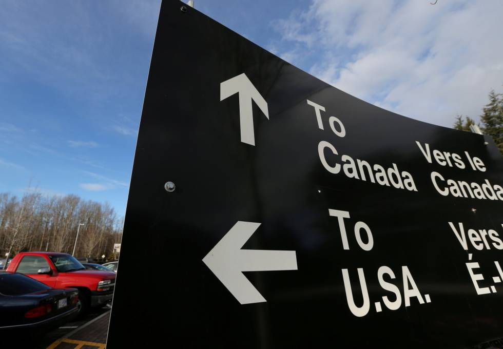 Cartel fronterizo entre EE UU y Canadá.