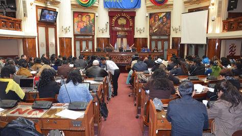 El pleno de la Asamblea Legislativa Plurinacional durante la sesión de este sábado